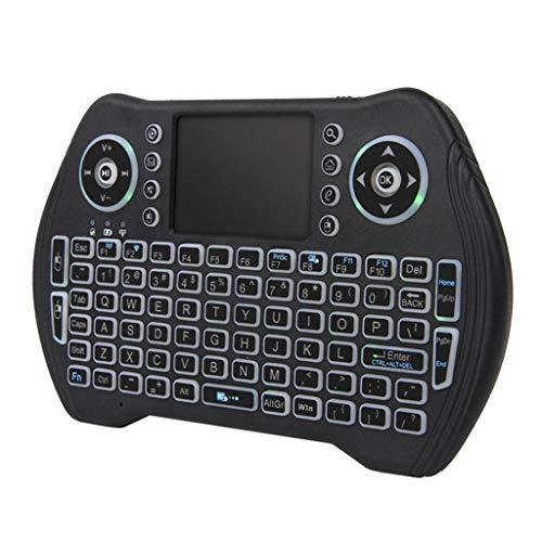 Skryo Gegenlicht Tastatur MT10 2,4 GHZ Mini Wireless Bluetooth 3 Farbe Touchpad Unterstützung TV // Backlit Keyboard MT10 2.4GHZ Mini Wireless Bluetooth 3 Color Touchpad Support TV(Schwarz)