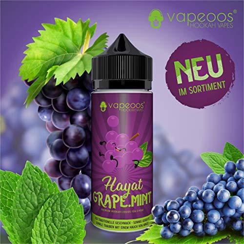 VAPEOOS Premium E-LIQUIDS   HAYAT I Traube Minze   50ml für E-Zigaretten und E-Shishas   0mg (ohne Nikotin) I Made in Germany!