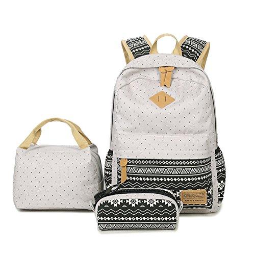 Canvas Daypacks Backpack 3 Teiliges Schultaschen-Set Schulrucksack + Umhängetasche + Mäppchen für Mädchen Damen Jugendliche Grau