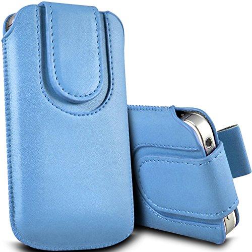 Brun/Brown - ZTE Kis 3 Max , ZTE Blade G Lux Housse et étui de protection en cuir PU de qualité supérieure à cordon avec fermeture par bouton magnétique et stylet tactile pour par Gadget Giant® Bleu Baby