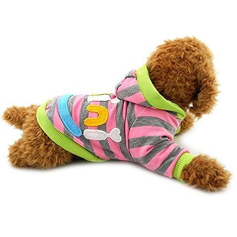 Pegasus Pet Kleidung Mini Smile Patch gestreift Sweatshirt Shirt Fleece Pullover Winter für kleine Hund Katze (2.0t Katze)