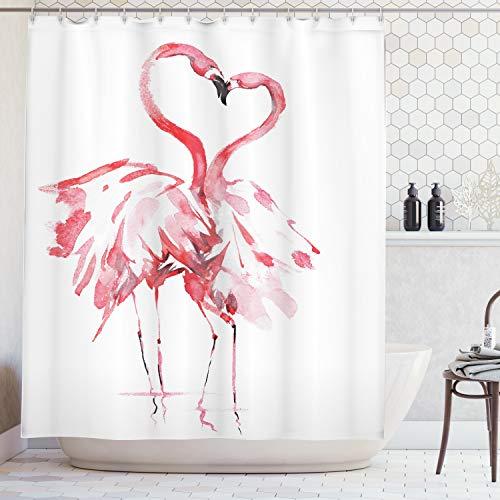 ABAKUHAUS Duschvorhang, Romantischer Augenblick Zwischen Zwei Flamingos die Einen Herzens Motiv Erzeugen Rosa Rot Druck, Wasser und Blickdicht aus Stoff mit 12 Ringen Bakterie Resistent, 175 X 200 cm (Flamingo Duschvorhang)