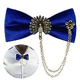 Funpa Men's Bow Tie Fashion Rhinestone Adjustable Pre-Tied Neck Bowtie Formal Bowtie