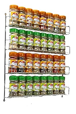 Neotechs® 32pc Chrome 4 Tier Spice Rack Jar Holder for Wall or Kitchen Cupboard from Neotechs®
