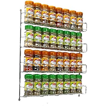 Neotechs® 32pc Chrome 4 Tier Spice Rack Jar Holder For Wall Or Kitchen  Cupboard