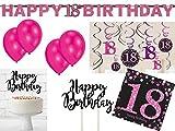 40-tlg. Partyset 18. Geburtstag Dekoset Dekobox - Girlanden, Luftballons, Servietten usw. - schwarz/pink