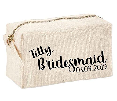 Bolsa de maquillaje personalizada para damas de honor, neceser de maquillaje, neceser de lona para artículos de tocador, regalo de boda, cumpleaños, Navidad, regalo
