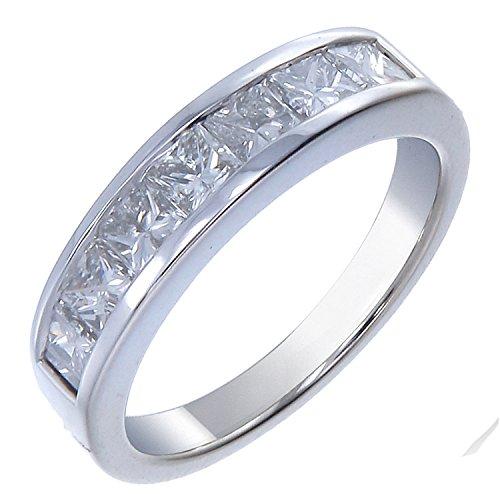14K Gold Diamond Wedding Band (1.50 CT ; I1-I2 Clarity ; Princess Cut)