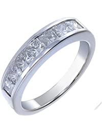 14K Gold Diamond Wedding Band (1.50 CT ; I1-I2 Clarity ; Princess Cut)
