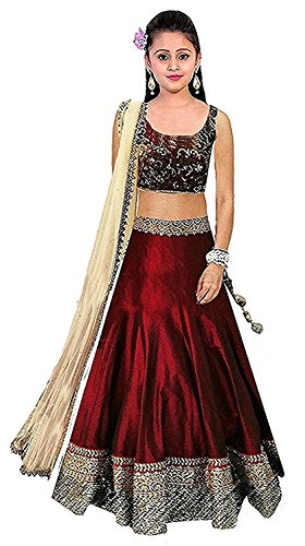 Woman style Girls Red Bhagalpuri Silk Lehenga Choli (5-12 Yrs)
