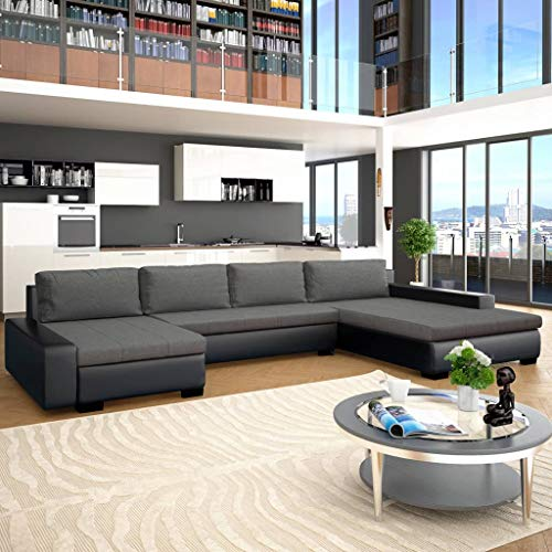 Festnight canapé-lit canapés de Salon Confortable canapé Moderne Canapé  d\'angle Cuir + Bois 385 x 209 x 68 cm Noir et Gris foncé