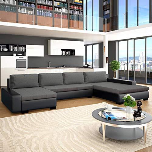 Festnight canapé-lit canapés de Salon Confortable canapé Moderne Canapé d'angle Cuir + Bois 385 x 209 x 68 cm Noir et Gris foncé