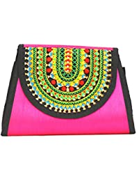 Art Godaam Hand Stiched Cotton Embroidery Clutch - B07CP31VSV