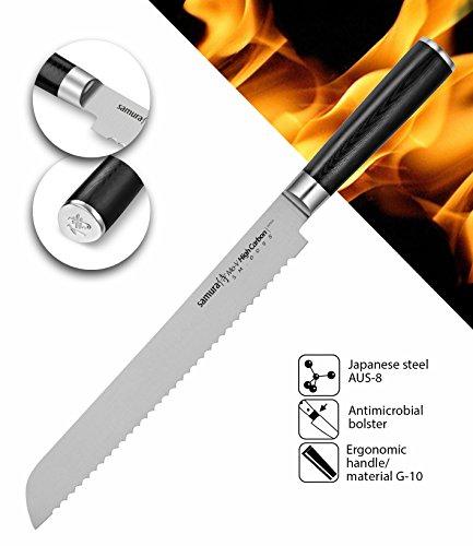 Samura MO-V Profi Brot-Messer ultra-scharf, groß, aus japanisch AUS 8 Edelstahl, 23 cm Klinge, mit G10 Handgriff aus Carbon, Sägemesser, Wellenschliff, Brotsäge (Japanische Brot)