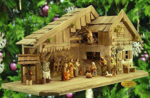 Krippe Antik (Weihnachtskrippe klassisch, antik gebeizt, Alpenländische Krippe mit FIGUREN und BRUNNEN-SET, Massivholz ANTIK, ÖLBAUM)