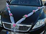 Autoschmuck Organza M Garland with Roses for Bride and Groom / Wedding Car Decoration pink / white