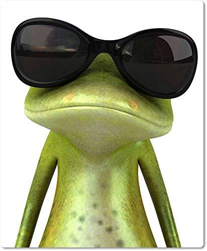 Mauspad / Mouse Pad aus Textil mit Rückseite aus Kautschuk rutschfest für alle Maustypen Motiv: 3D Frosch mit Sonnenbrille als
