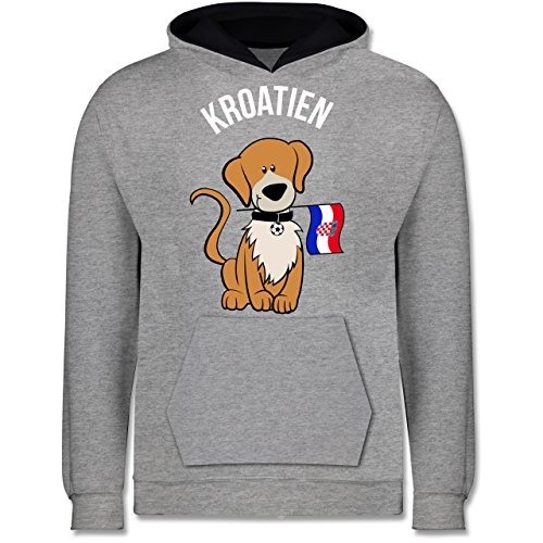 Shirtracer Fußball-Europameisterschaft 2020 Kinder - Fußball Kroatien Hund - 9-11 Jahre (140) - Grau meliert/Navy Blau - JH003K - Kinder Kontrast Hoodie