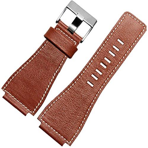 TIME4BEST Herren 24mm braun Leder Uhrenarmband Dornschließe kompatibel mit Bell & Ross