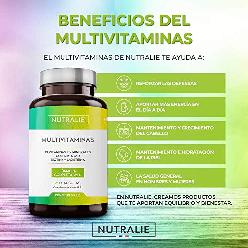 51JRJZniCuL - Multivitaminas 29 Nutrientes Esenciales | Vitaminas A, B, C, D, E, K, Biotina, L-cisteína, Coenzima Q10 y 9 Minerales | Complejo Multivitamínico 60 Cápsulas | Nutralie