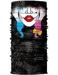 Pañuelo multifunción calavera, máscara, payaso, pañuelo para el cuello, Halloween, disfraz, motocicleta, esquí, caza, bicicleta, #1