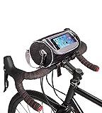Boxiki Travel Borsa da Manubrio per Bicicletta per Bici da Strada, Mountain Bike e Motociclette Borsone per Biciclette/Porta Telefono Touchscreen/Tracolla Rimovibile by