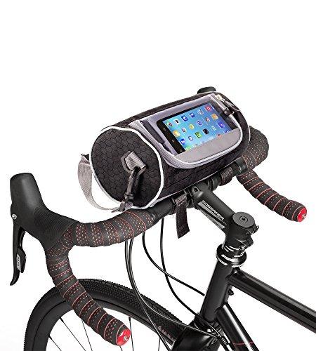 Boxiki Travel Fahrradlenker-Tasche für Rennräder, Mountain Bikes & Motorräder. Fahrradtasche mit Touchscreen Handy-Halter. Wasserdichter Aufbewahrungsbeutel mit abnehmbarem Schultertragegurt