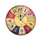 Horloge Vintage, Cuitan Pendule Murale 12 inch Silencieuse Rond Bois Rétro Horloge Décoration de la Maison Salon Cuisine Chambre à Coucher Café Bar Bureau Couloir - Coloré