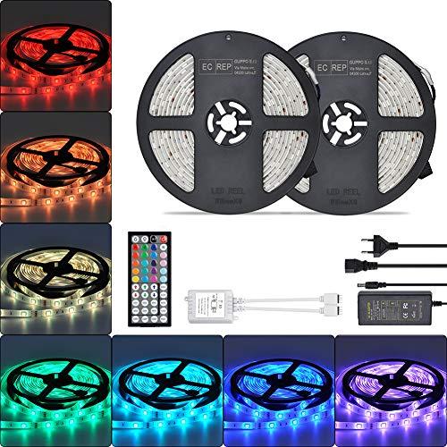 RGB LED Streifen 2x 5m strip Lichtband 10m fernbedienung Kontrol 300leds 5050SMD 44 Tasten Led Band IP65 wasserdichte LED Band Leiste LED Lichtleiste für Küchenschrank/Innenbeleuchtung
