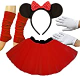 Minnie Mouse Ladies Fancy Dress Tutu Ears Gloves Legwarmers Set outfit