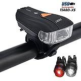 TIABO LED Fahrradlicht Aufladbare Frontlicht mit USB und Intelligenter Lichtsensor Rücklicht Akku Wasserdicht Fahrradlicht Set