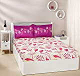 #7: Amazon Brand - Solimo Lily Bloom 144 TC 100% Cotton Double Bedsheet with 2 Pillow Covers, Pink