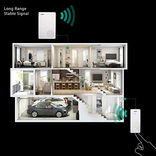 Aukey timbre de puerta inalámbrico inteligente Doorbell Touch Control, 36timbre, Volume 4modos para familia, hotel, oficina, etc