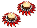 Unique Arts beautiful red curved kundan floating diya - set of 2 - FD114
