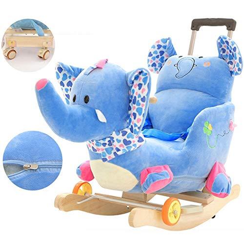 ZhaoXH-Caballo mecedora Caballo de Oscilación Del Bebé Azul Del Elefante Del Bebé Del Caballo Mecedora...