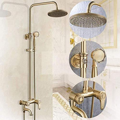 Duschset Bronze Geschnitzte Luxus-Regenduschsysteme/Wandbrause Combo Regenduschkopf + Handbrause Spray Regenduschkombination Combo Set -