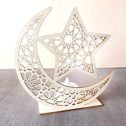 bulrusely Musulmanes Eid Adornos de Madera Palacio Islámico DIY LED proveedores Decorativos Craft para la decoración del hogar Ornamento