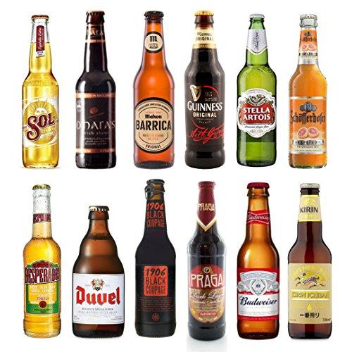 Cervezas del Mundo PACK 12 - Cerveza Sol, Duvel Cerveza, Desperados Cerveza, Oharas Cerveza, Mahou Barrica, 1906 black coupage, Guinness cerveza, Cerveza Praga Budweiser cerveza, Stela Artois cerveza, Cerveza Kirin Ichiban, Schofferhofer Cerveza