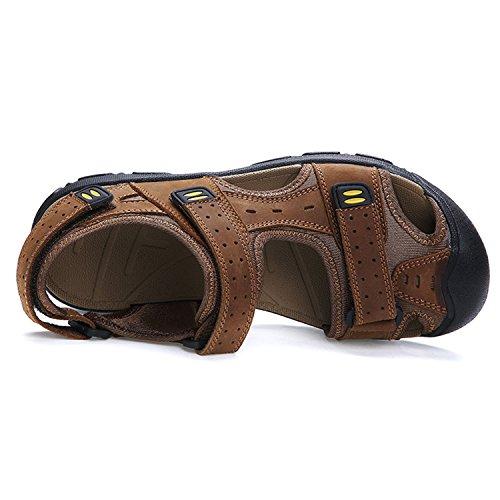 Oasap Men's Genuine Leather Round Toe Flat Velcro Beach Sandals Light Brown