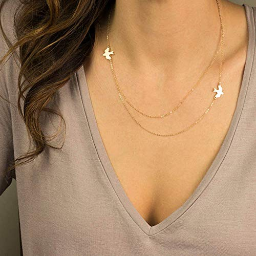 Jovono Mehrschichtige Tauben-Anhänger-Halsketten Fashion Pigeon Necklace Chain Jewelry für Frauen und Mädchen (Gold)
