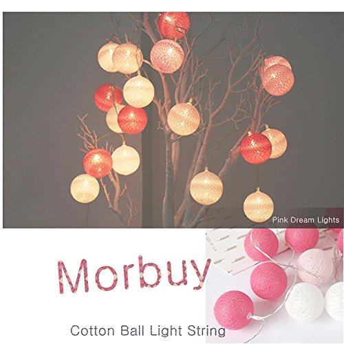 Stringa luci led, morbuy luce decorativa 10 led luci stringa batteria sfera batuffolo di 1.8m cotone palla luci della stringa luce bianco caldo ghirlanda catene luminose ideale per addobbi festa natale matrimonio (1.8m /10 luci, sogno rosa)