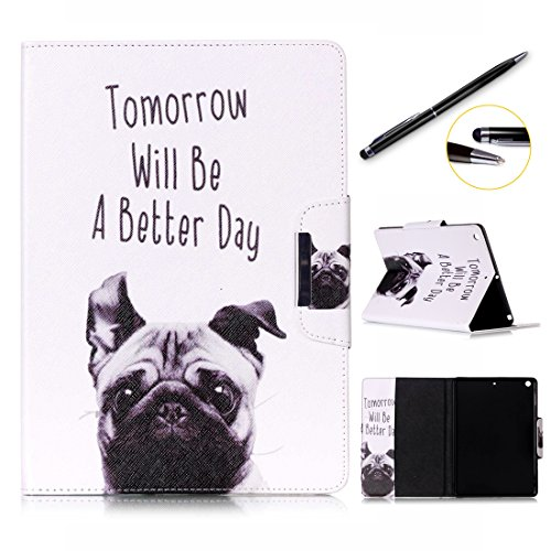 Preisvergleich Produktbild iPad Pro 9.7 Hülle,  Lotuslnn Apple iPad Pro 9.7 2016 Slim Leder Wallet Book Cover with Stand Feature,  Credit Card,  and ID Holders - Dog Tomorrow will be a better day