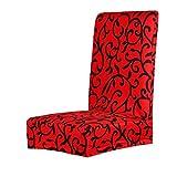Housse de Chaise de Salle à Manger Couverture Amovible Stretch Extensible Imprimé Floral (Rouge)
