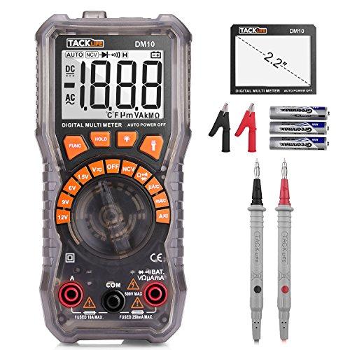 Multímetro Digital, Tacklife DM10 Polimetro Hialino 2000 Counts para Prueba de batería de 1.5V/ 6 V/ 9V/ 12V y corriente y voltaje AC/DC. Tester Electrico con Voltímetro, Amperímetro, Multi Tester