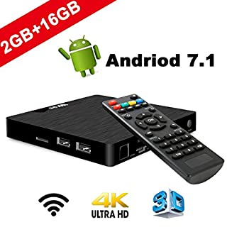 4 K Android 7.1 TV Box – seekool 2019 Model T Smart TV Box with 2 G RAM 16 g Rome, amlogic s905 W Quad Core 64 Bits, 4 K Ultra HD, Built-in WiFi, USB poort, HDMI & AV Output Media TV Player