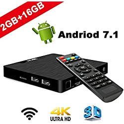 Android 7.1 Smart TV Box - W95 Box Modèle T Boîtier TV avec 2Go DDR3 16Go EMMC, 4K Ultra HD, Quad Core Amlogic S905W, 2.4GHz WiFi et LAN, HDMI & AV, 2 Port USB, Android TV Box Player
