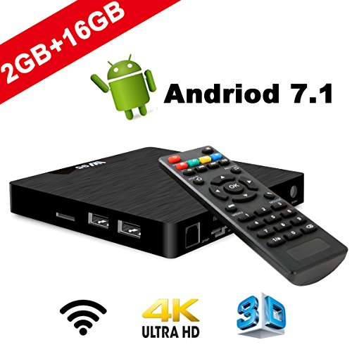 TV Box Android 7.1 – VIDEN W2 Smart TV Box Amlogic Quad Core, 2GB RAM & 16GB ROM, 4K*2K UHD H.265, HDMI, USB*2, WiFi Media Player, Android Set-Top Box
