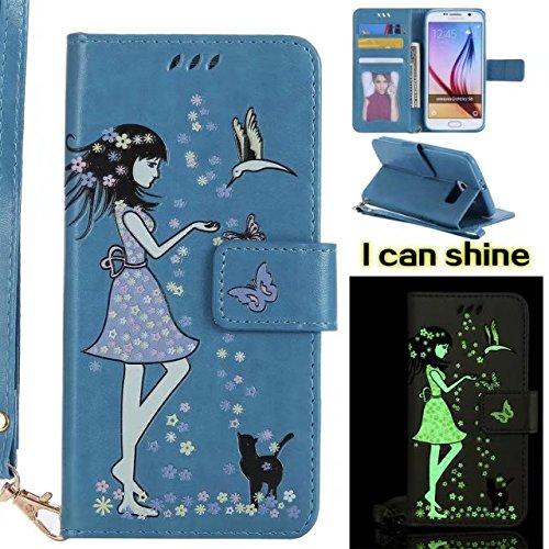 Horrizontal Folio Stand PU Ledertasche, Geldbörse Geldbörse Abdeckung Fall mit Lumious Shining Effekt & Lanyard für Samsung Galaxy S6 ( Color : Rose-gold ) Blue