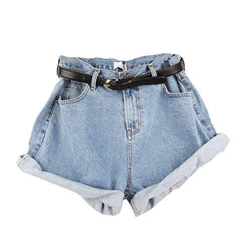 Women High Waist Jeans Shorts Denim Hot Pants Simple Casual Classic Elastic Curling Hem