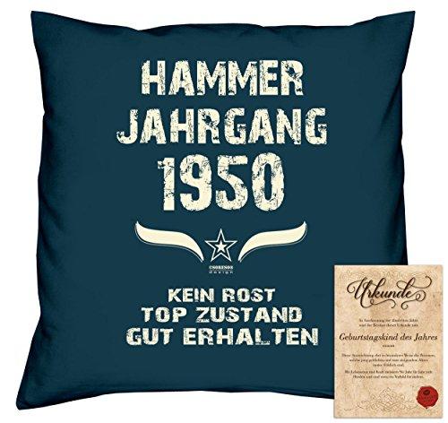 tag Deko-Kissen Sofakissen Dekokissen Jahreszahl Aufdruck Hammer Jahrgang 1950 :-: Größe: 40x40cm und Urkunde Farbe: navy-blau (1950 Deko-ideen)